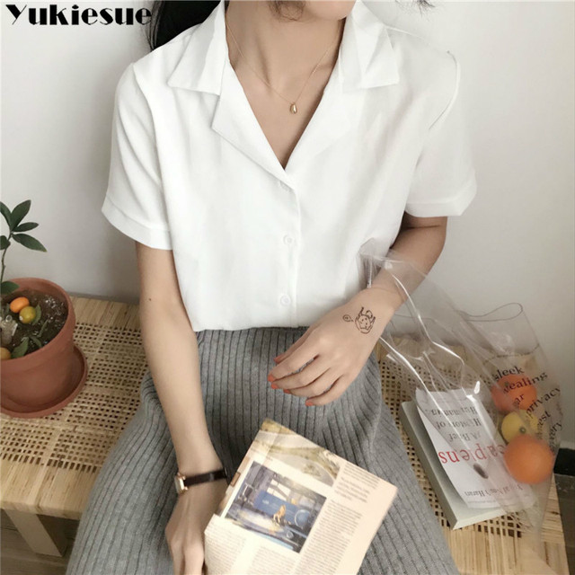 Casual Solid Female Shirts Outwear Tops 2020 summer short sleeve  Women Chiffon Blouse Office Lady V-neck Button Loose Clothing 3