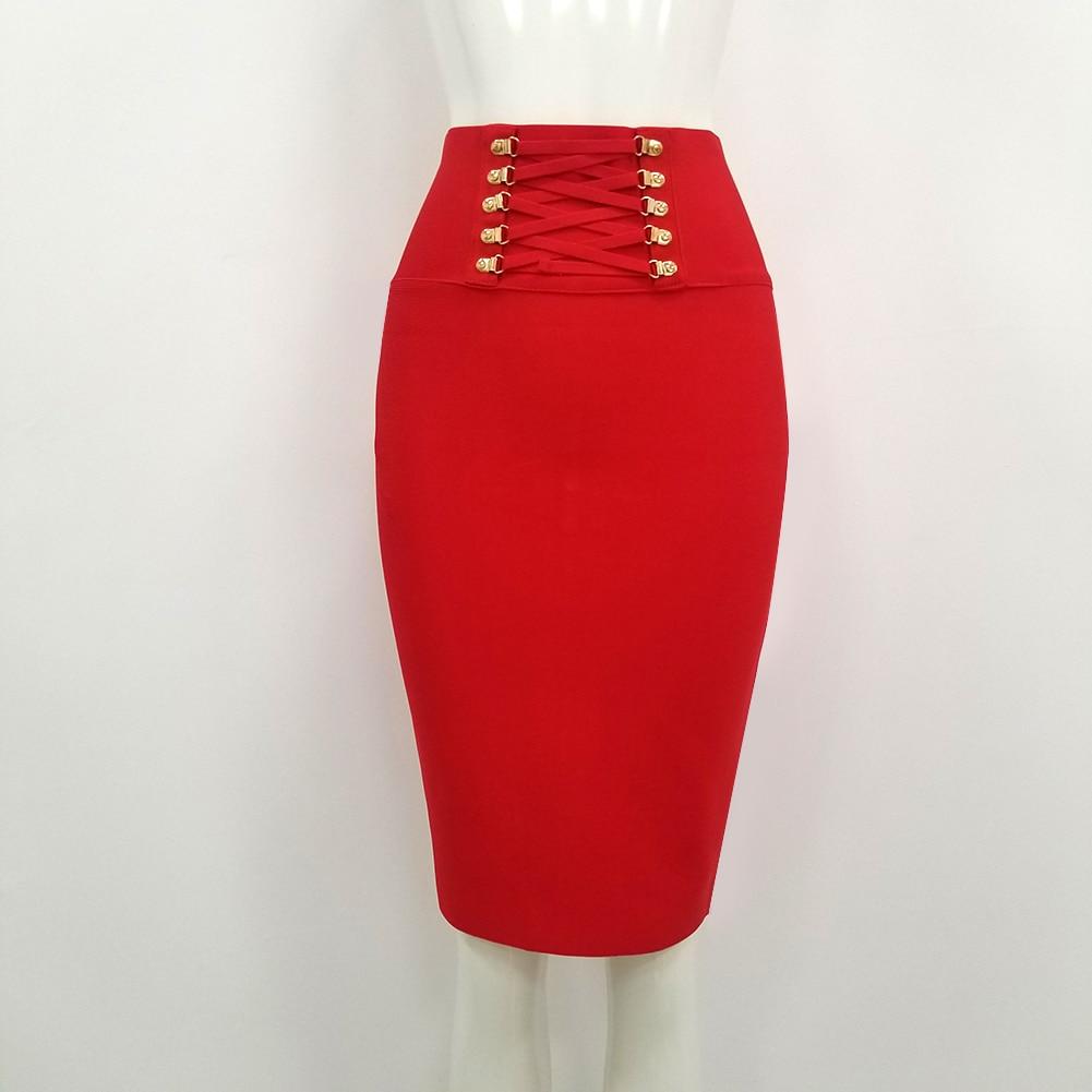New Arrival Women Black RED White Bandage Skirt 2020 Designer High Waist Sequined Night Club Party Pencil Skirt