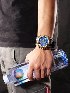 Reef Tiger/RT мужские повседневные часы, кварцевые часы с хронографом и большим циферблатом, Супер Светящиеся стальные спортивные часы RGA303