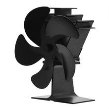 Stove-Fan Burner Fireplace-Fan Heat-Distribution Wood Heat-Powered Home Log Black 5-Blades