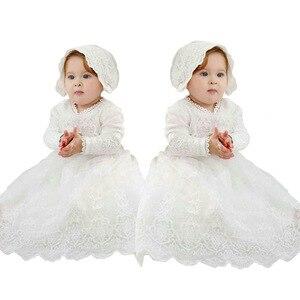 Высококачественное платье для маленьких девочек кружевные платья принцессы для новорожденных, платье для первого дня рождения, костюм пра...