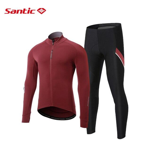 Mens Road Bike Thermal Cycling Jersey Pants Set Fleece Winter Cycling Long Sets