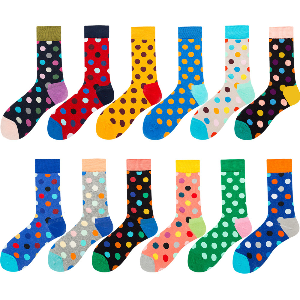 2019 Hot Sale Casual Men Socks New Fashion Design Colorful Dot Printed Happy Business Party Combed Cotton Socks