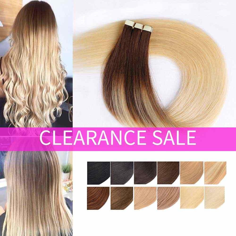 Ombre Tape in Remy Human Hair Extension Real Natural Human Hair Adhesive Hair Extensions Ombre Blonde Seamless Tape on Hair