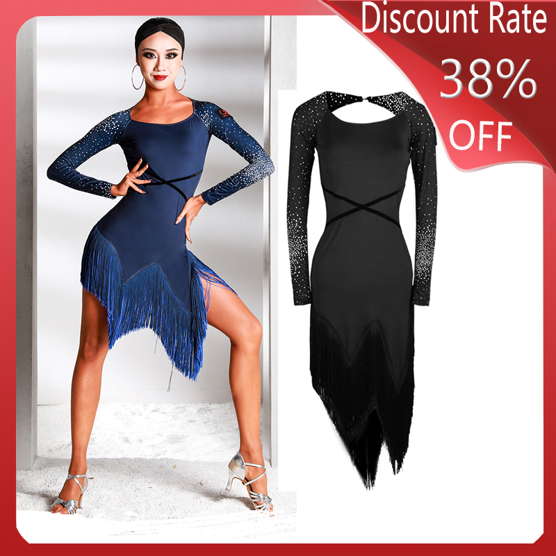 New Long-Sleeved Latin Dance Competition Dresses Practice Clothes Adult Sexy Fringe Dress Performance Latin Dance Dress DQS3570
