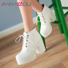 ANNYMOLI Autumn Ankle Boots Women PU Leather Platform Chunky Heel Short Boots Lace Up Extreme High Heel Shoes Lady Winter 34-43 glamorous grey velvet platform chunky heel booties women fancy ribbon lace up decoration block heel ankle boots with inside zip