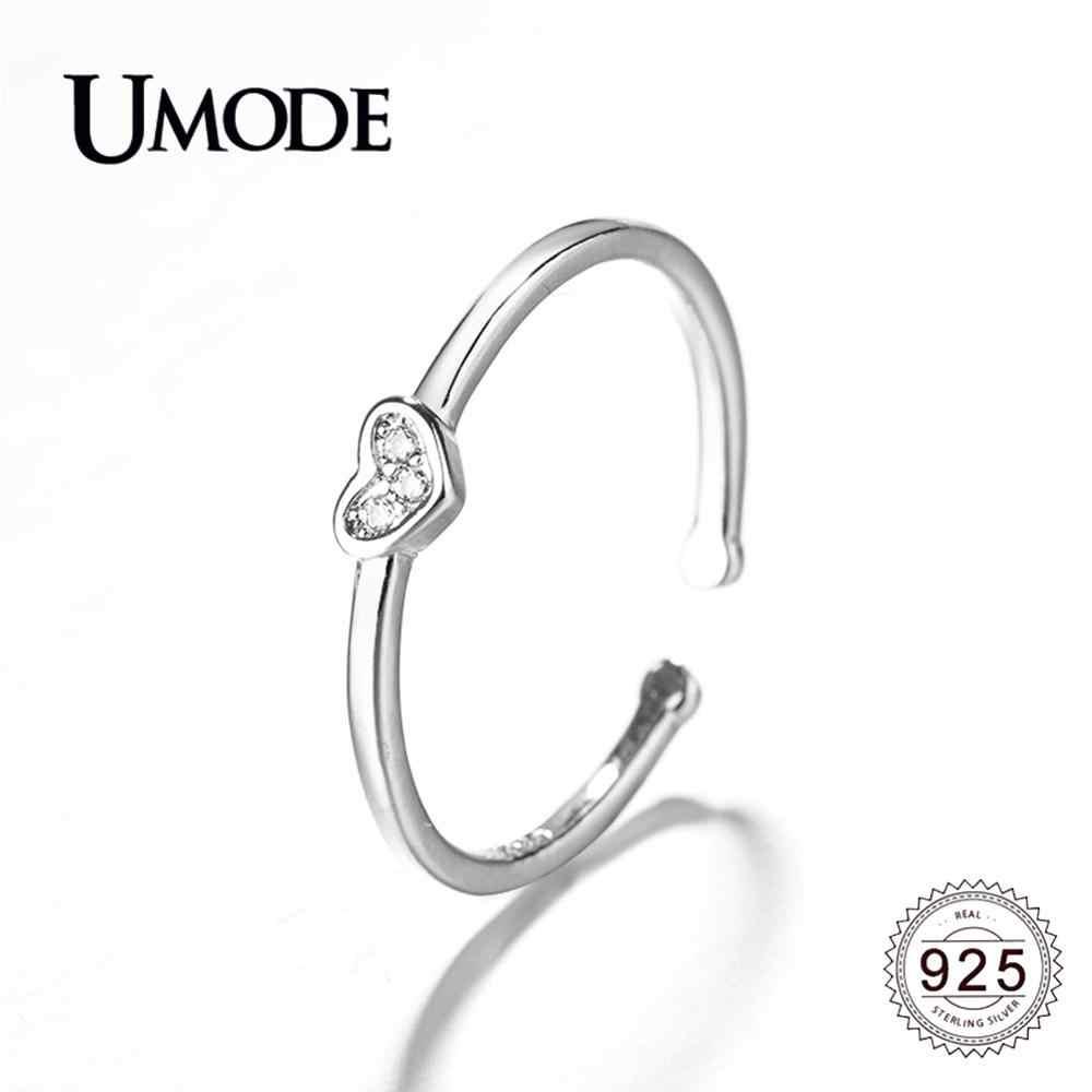 UMODE 2019 ใหม่ 925 เงินสเตอร์ลิงล้าง Paved Zircon เปิดแหวนผู้หญิงเงิน 925 เครื่องประดับของขวัญ ALR0745