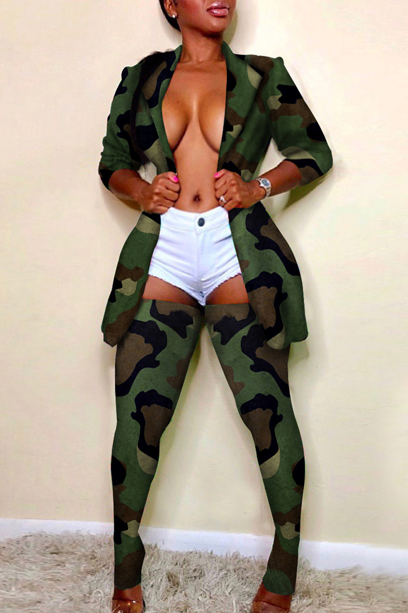 Adogirl Camo Two Piece Set Long Sleeve Blazer Coat Stockings