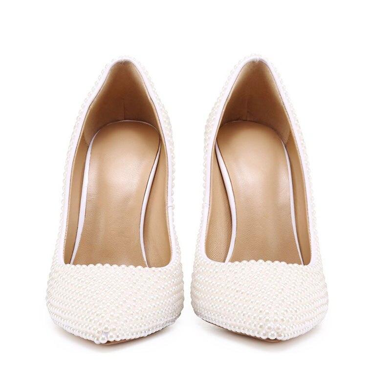 Bianco Perla Donne Pompe Strano Tacco A Spillo 11 centimetri Tacchi Pattini di Vestito Da Sposa scarpe A Punta Da Sposa Su Misura Bella tacchi Alti - 5