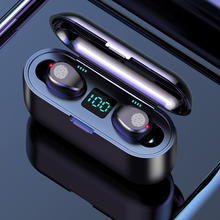 Fone de ouvido sem fio bluetooth v5.0 f9 tws esportes estéreo baixo cancelamento ruído apoio ios/android telefones hd chamada