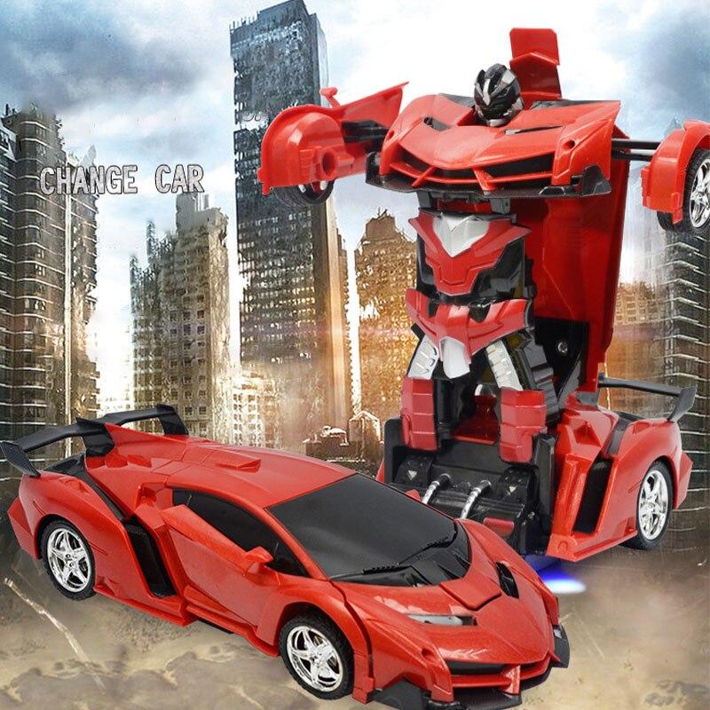 Transformateur Rc 2 en 1 RC voiture conduite voitures de sport conduire des Robots de Transformation modèles télécommande voiture RC combat jouet cadeau