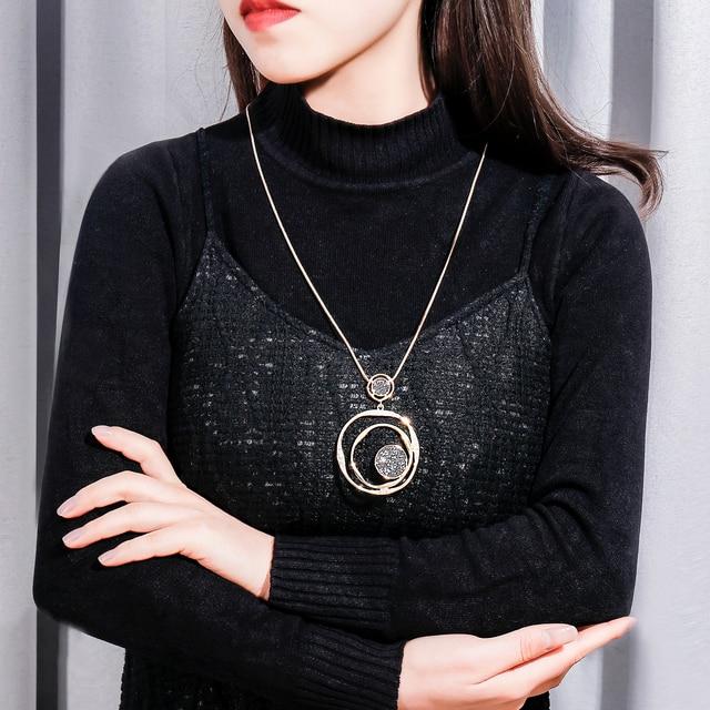 Роскошное ожерелье с черными кристаллами золотая цепочка для