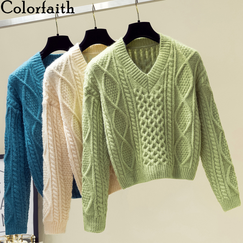 Colorfaith New 2019 Autumn Winter Women Sweaters V-Neck Knitting Fashion Korean Style Solid Minimalist Ladies Female Tops SW716