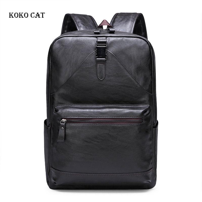 Men pu Leather Backpacks Black School Bags for Teenagers Boys College Bookbag Laptop Backpacks Travel Bags mochila masculina