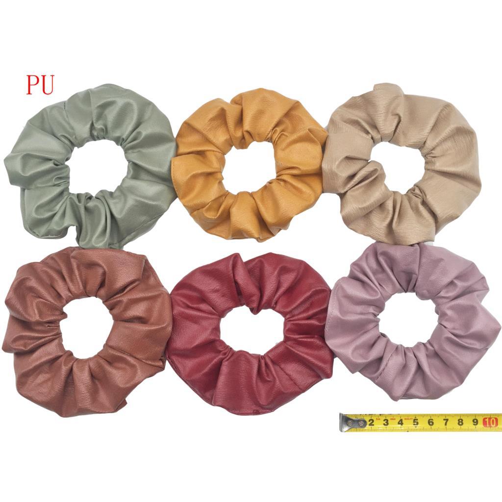 6 шт/лот Бархатные эластичные резинки для волос, резинки для волос для девочек, не складываются, леопардовые женские большие мелкие блестки из шифона с цветочным рисунком - Цвет: PJ038-A-6PCS