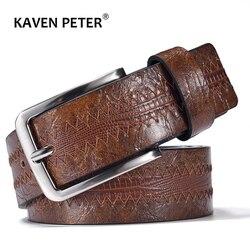 Cinturón de cuero informal para hombre, Cinturón de piel de vaca de alta calidad con patrón de lagarto con hebilla, nuevo diseño, envío directo