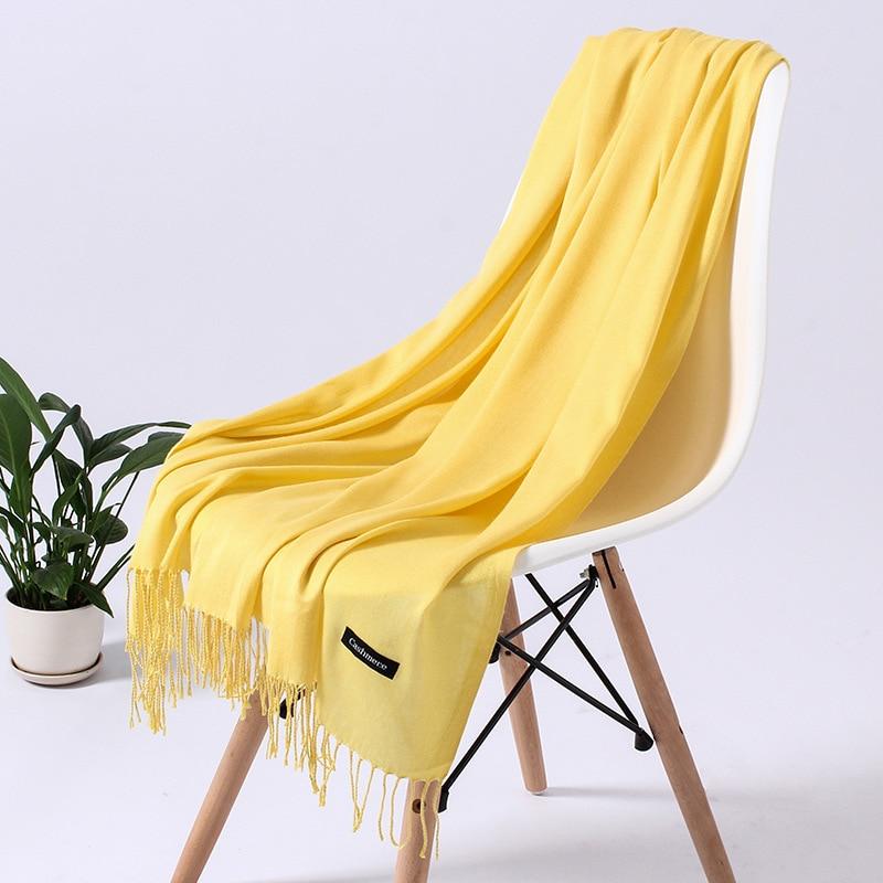 Однотонный кашемировый шарф для женщин новые длинные мягкие шали и палантины пашмины модные хиджаб с кисточками женские шейные шарфы - Цвет: 110glight yellow