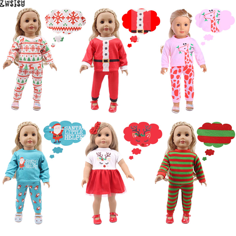 Doll Pajamas 2 Pcs Christmas Designs Nightgowns For 18 Inch American&43 Cm Born Logan Boy Doll Generation Girl`s Toy Santa Claus