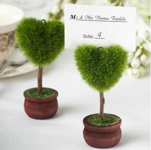 Love Heart Potted Photo Holder , Green Potted Plant Message Card Holder For Wedding