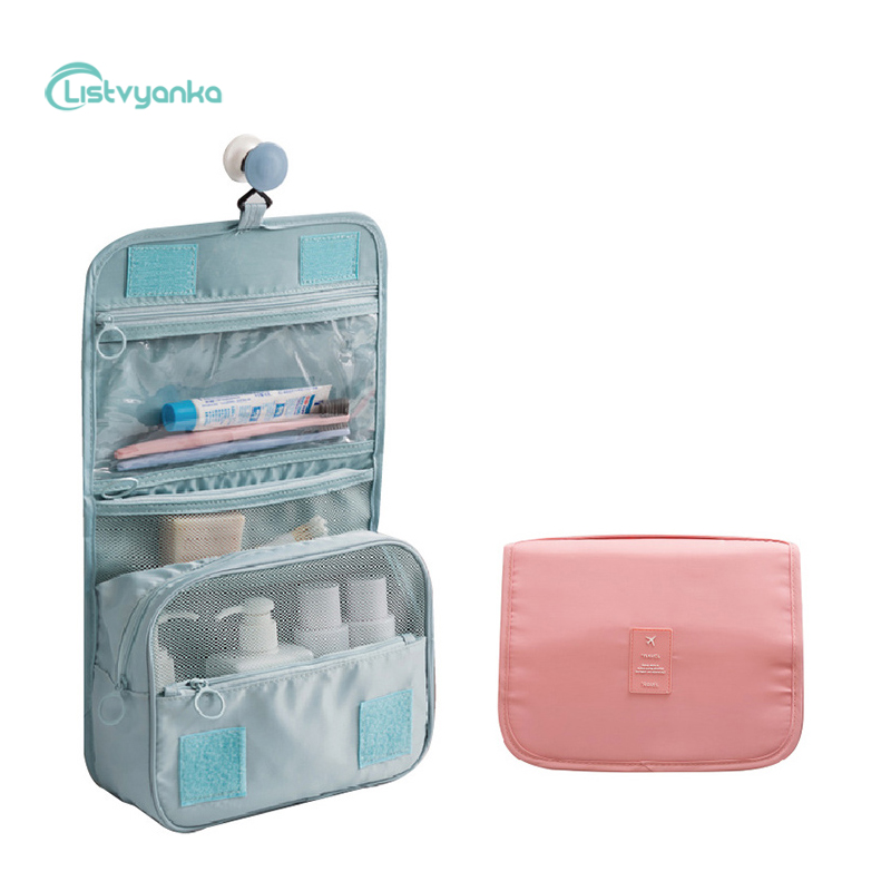 Cosmetic Bag Hanging Organizer Makeup Bag Hook Bathroom Organizer Large Capacity Foldable Portable Waterproof Travel Storage Bag
