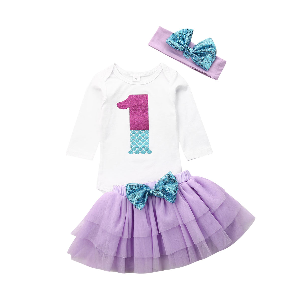 Baby Girl First 1st Birthday Tutu Skirt Dress Headband Pricess Party Cute Outfit
