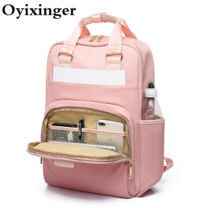 Female Pink Backpack Women's Laptop Backpack 14 15 Inches Woman Waterproof Bagpack School Bags For Teenager Girls Women Rucksack(China)