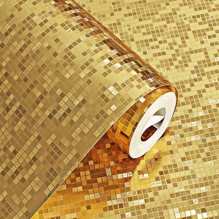 Gold Silver Home Improvement Mosaic Wallpaper Bar Ktv TV Backdrop Ceiling Gold Foil Wallpaper Manufacturers Wholesale
