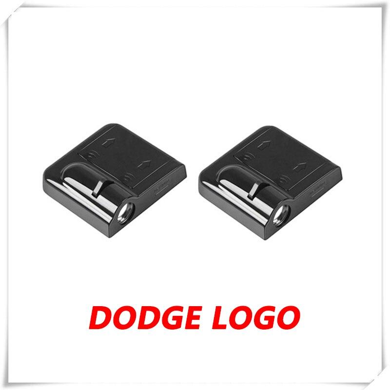 2PCs Car LED Door Ghost Shadow Light Courtesy Laser Projector Logo For Dodge Caravan Challenger Caliber  Viper Journey Durango