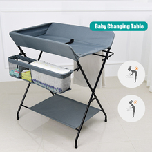 Multifunctional Foldable Baby Changing Table Portable Infant Newborn Diaper Changing Care Table with Wheels and Storage Basket