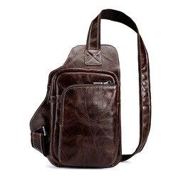 Высококачественная Мужская винтажная сумка-мессенджер из натуральной воловьей кожи на бретельках, на груди, для путешествий, модная сумка ...