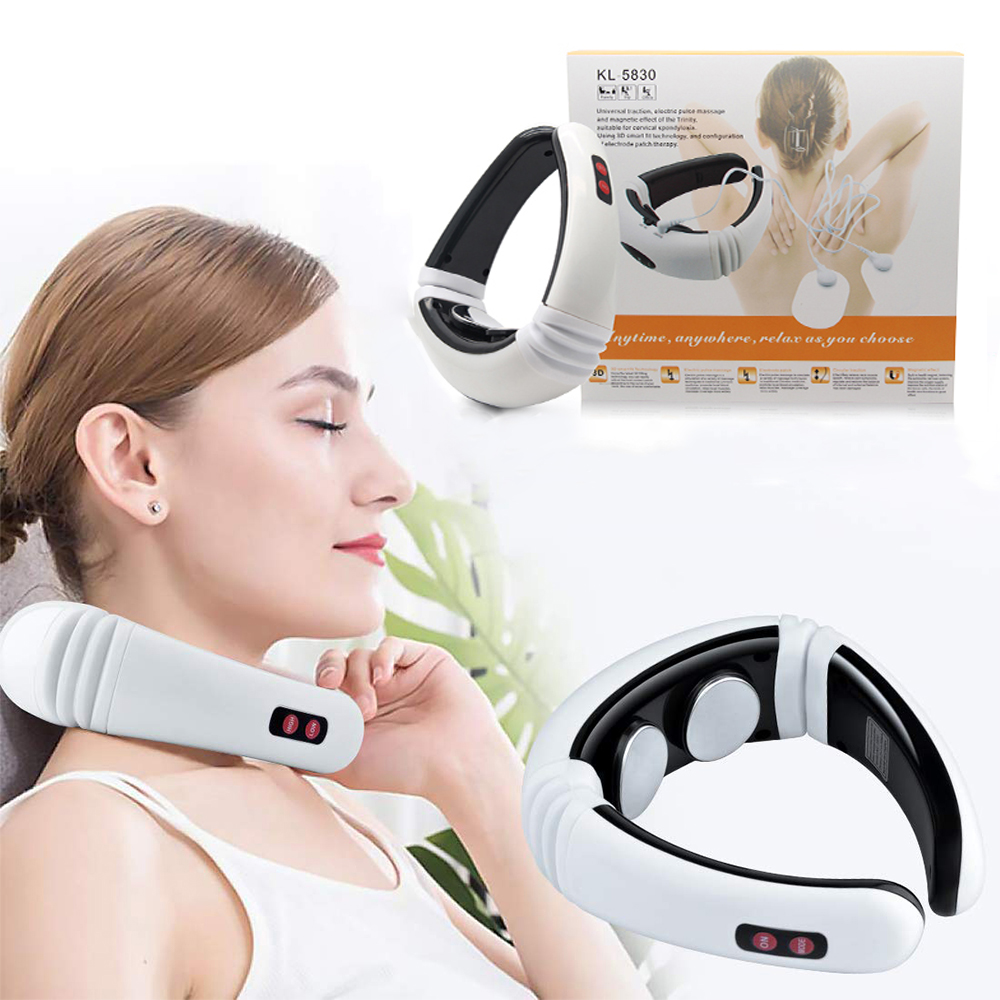 Electric Tens Unit Pulse Neck Massager Magnetic Pulse Therapy Vertebra Relax Far Infrared Heating Pain Relief