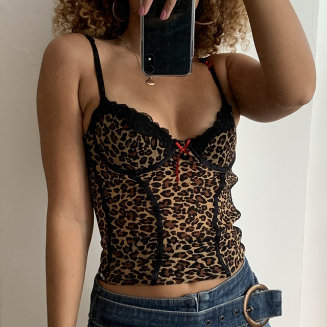 Leopard Print Cyber Crop Top Women Indie Aesthetics Sexy Sleeveless Camisole Top Ladies Vest Street wear Women