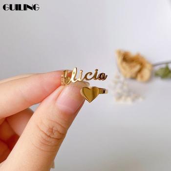 Dainty nazwa własna pierścionek z sercem spersonalizowany amulet ze stali nierdzewnej pierścionek do noszenia warstwowego dla kobiet Tiny komunikat biżuteria otwieracz tanie i dobre opinie CN (pochodzenie) STAINLESS STEEL NAME Kobiety litera moda Zestawy ślubne Metal Ślub DZJZ001 Personalizowane pierścienie