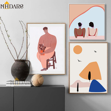 NHDARC Style Nordic Scandinavian Fresh Sweet Cute Character Illustration Canvas Print Painting Poster Wall Picture Home Decor