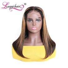 Волосы Longqi, парик из человеческих волос 4x1 T, 150% плотность, бразильский парик из прямых T-образных волос, 14 дюймов, бразильские волосы Remy, парик