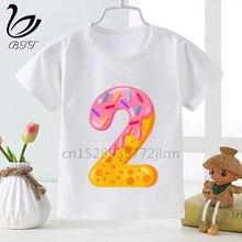 Crianças doces donuts aniversário nome número 1-9 t camisas meninos meninas donut aniversários festa tshirt crianças dos desenhos animados camiseta superior