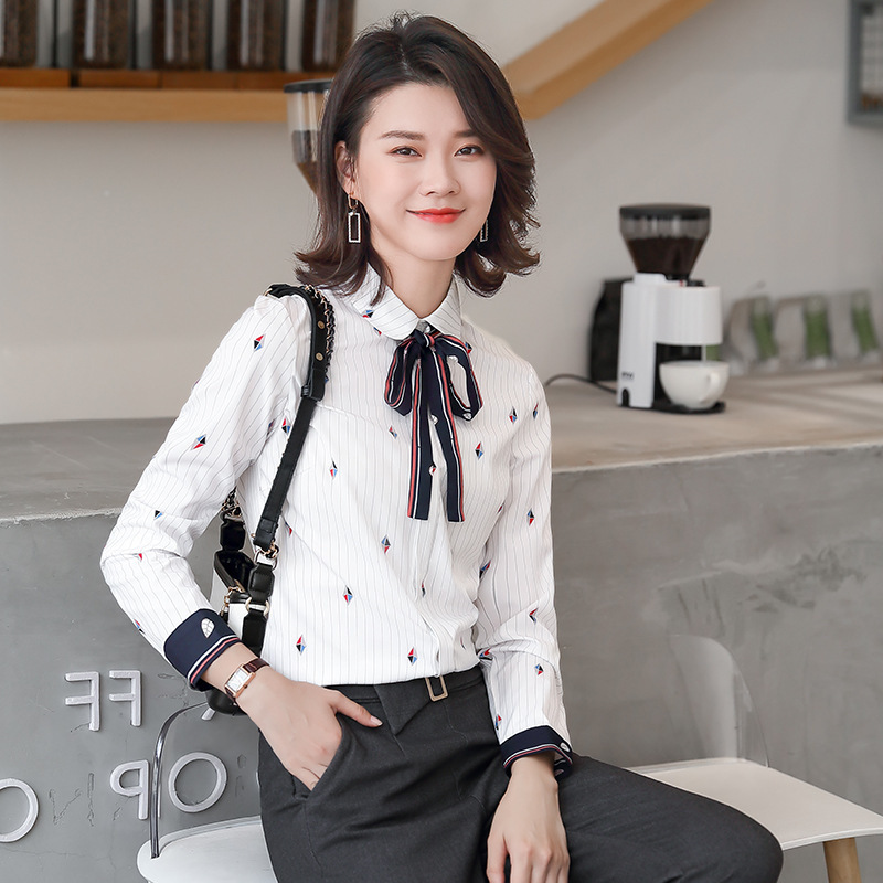 Shirt Women's 2020 New Style Thin Women's Bow Lace-up Light Luxury Hipster Business Versatile Tops Yan160