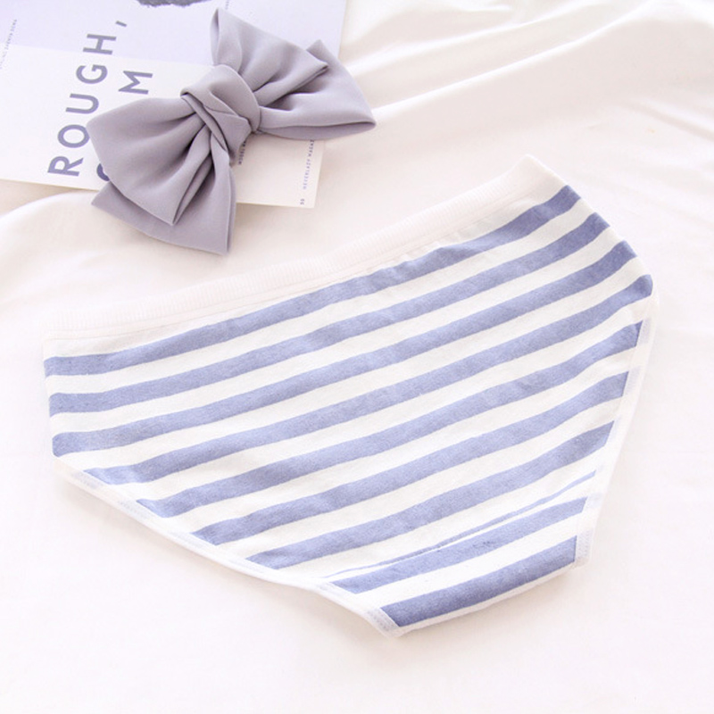 Polar Bear Pattern Panties For Girl Women Cotton Underwear Striped Briefs Lingerie Ventilation Comfortable Woman Intimate Panty