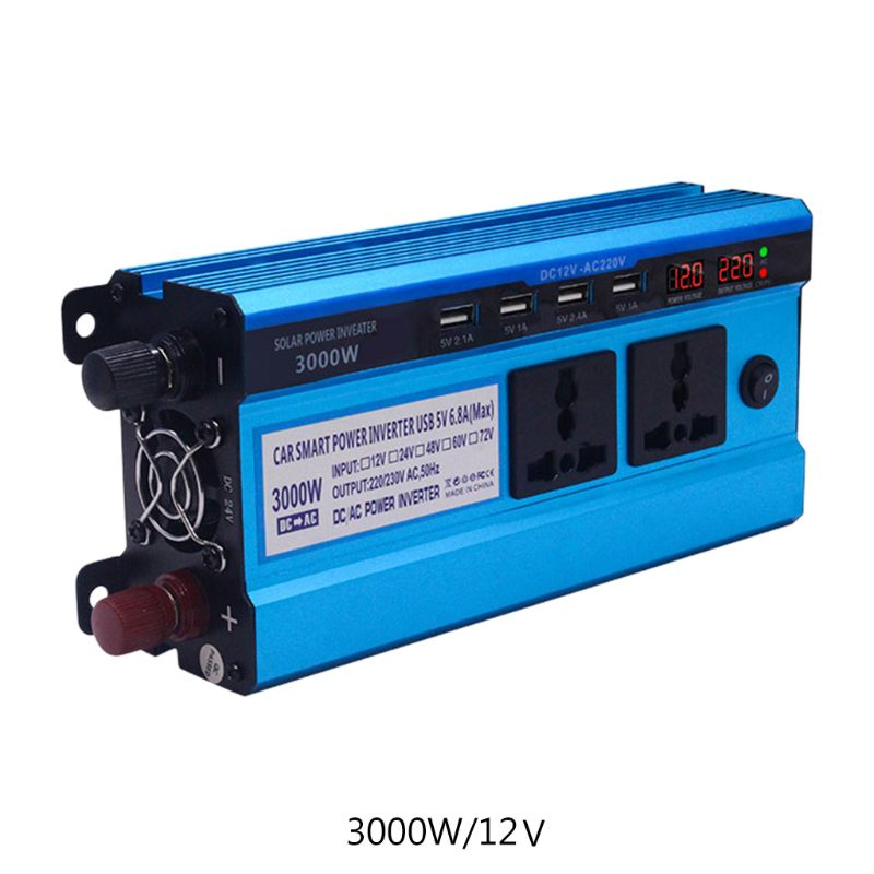 Solar <font><b>Inverter</b></font> DC 12/24V to AC 220V 500/<font><b>3000</b></font>/4000/5000W 4 USB Ports 2/3 Sockets NEW image