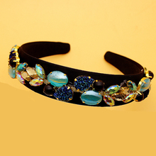 Wide Vintage Baroque Blue Rhinestone Hairband Gem Crystal Stone Opal Headband For Women Luxury Hair Jewelry Accessories vintage faux gem cirrus flower hairband for women
