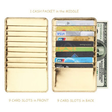 Super Thin Quality PU Leather 18 Card Slots Business Card Holders Long Wallet Credit ID Card Holder Fashion Men Women Mini Purse kavis brand cow genuine leather credit card holder 14 card slots men women business card purse id wallet travel for credit cards
