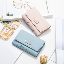 2019 New Short Wallet Card Holder Women PU Leather Fashion Print stitching Clutch Bag Female Hasp Coin Purse for