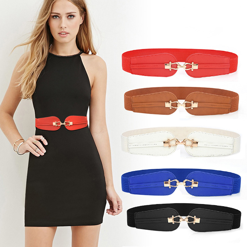 GAOKE PU Leather Elastic Wide Belt For Women Stretch Thick Waist Belt For Dress Fashion Stretch Women Belts Plus Size