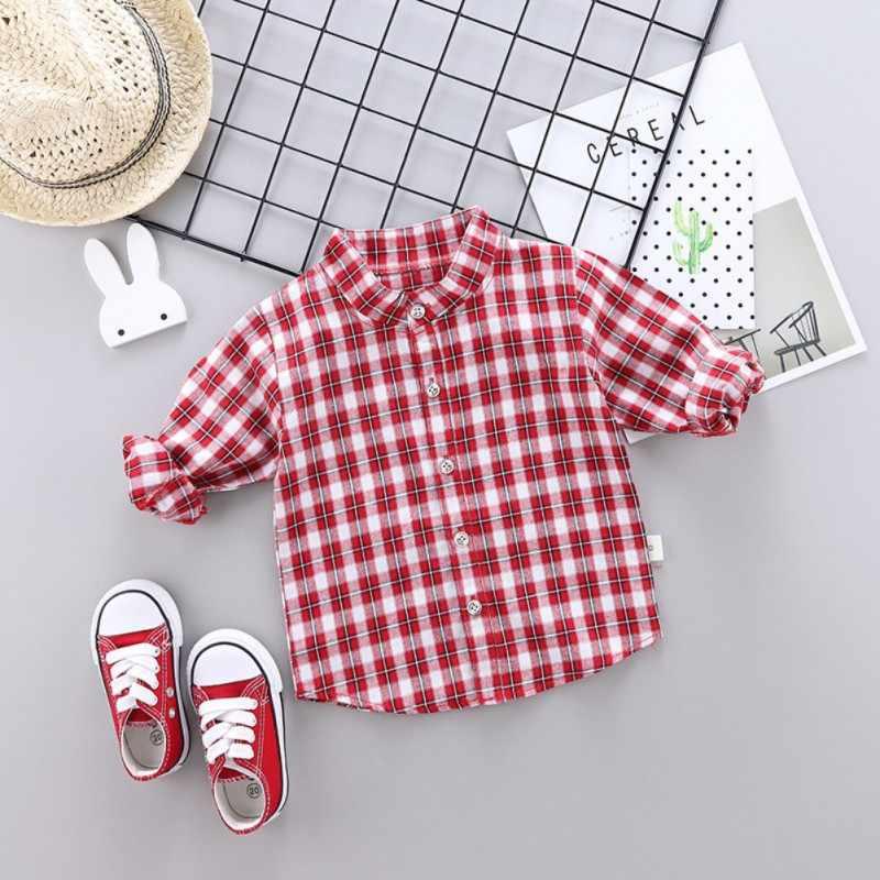 תינוק בני חולצות ארוך שרוול משובץ הדפסת חולצות ילדי חולצות Tees חולצות מקרית חולצות חולצה