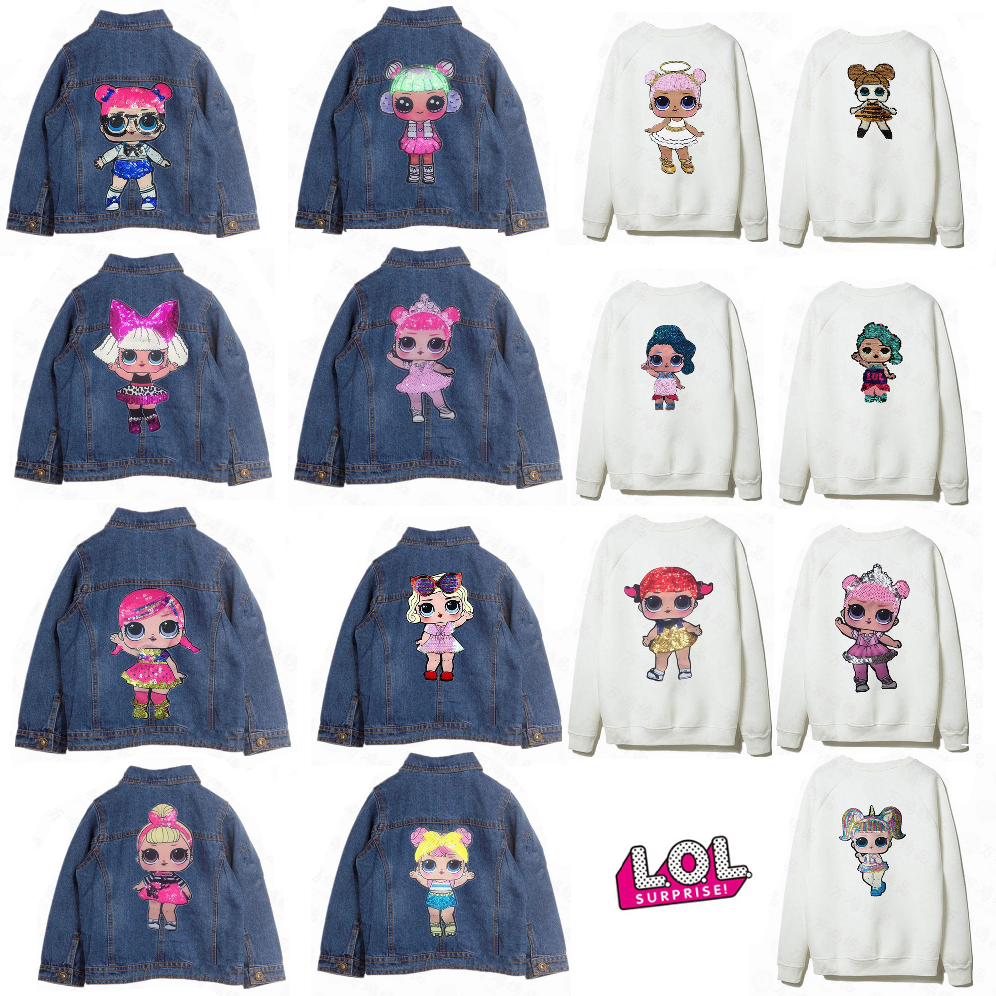 LOL Surprise Cartoon Patches Women Fashion Doll Girls Fashion Boy Doll Embroidery Patch DIY Garment Decoration Sequins Cloth Toy