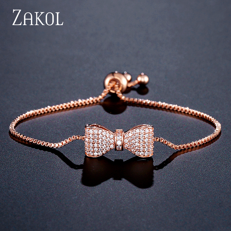 ZAKOL Fashion Zirconia Crystal Bow Adjustable Bracelet & Bangle for Women Brilliant CZ Party Jewelry Pulseira Feminia FSBP2034