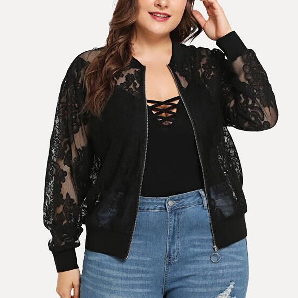 Plus Size Bomber Jacket Women Solid Lace Patchwork Zipper Up Retro Coat Spring 2020 Summer Long Sleeve Basic Jackets Female#J30