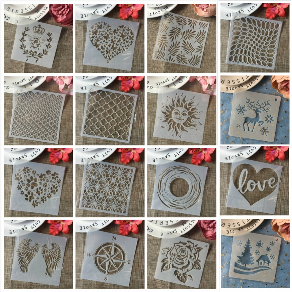 2019 Annual Top 10 Best Selling 13*13cm DIY Layering Stencils Wall Painting Scrapbooking Stamping Embossing Album Card Template