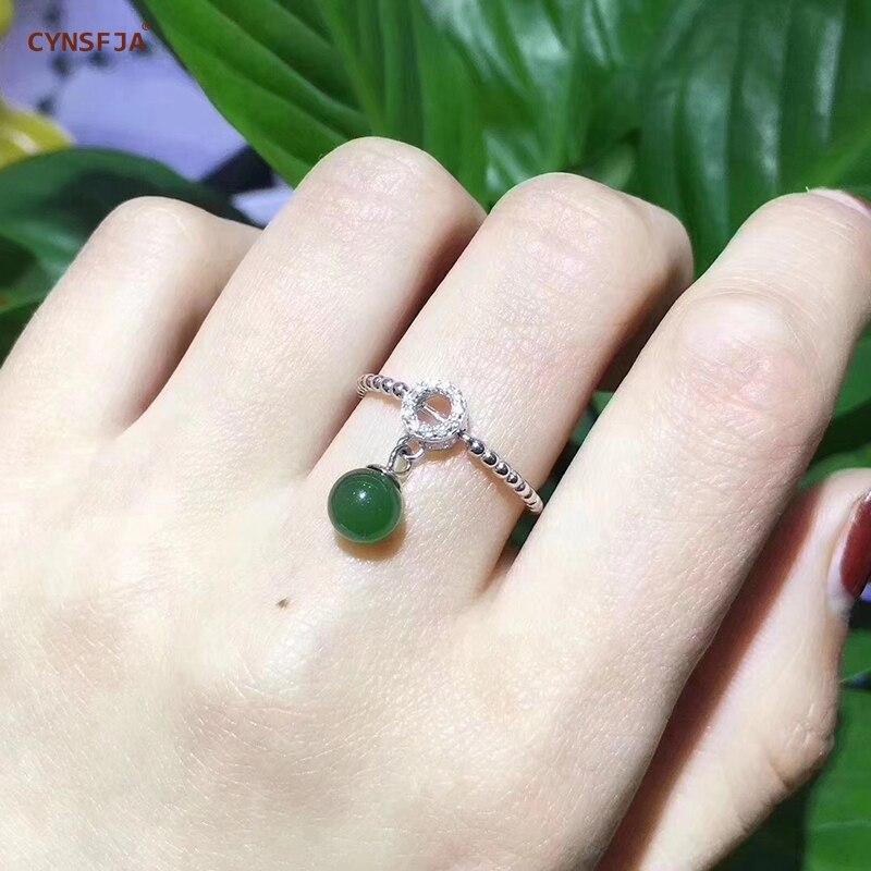 CYNSFJA véritable certifié naturel Hetian Jasper incrusté 925 argent Sterling breloque faite à la main amulette Jade anneaux pendentif vert bijoux fins de haute qualité meilleurs cadeaux