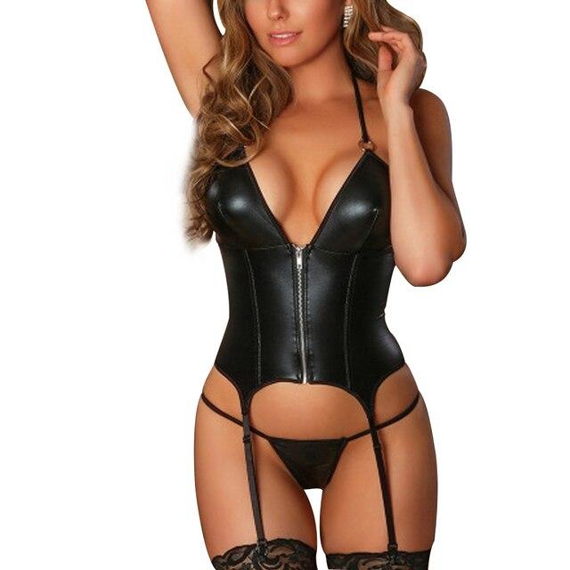 Sex Lingerie Woman Sexy Set Erotic Babydolls Zipper Underwear Thong With Garter Lenceria Set Porno Teddy Corset Erotic Costumes 1